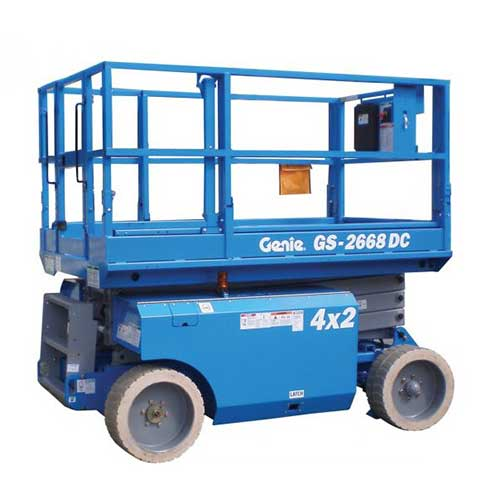 Genie GS2668 engine powered scissor lift rental by US Aerials & Equipment Rental