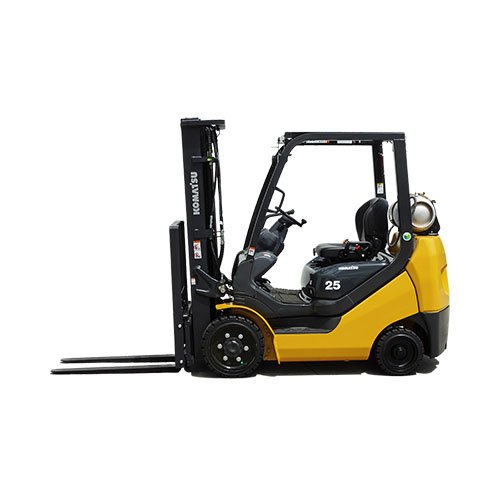 Komatsu FD25T-16 industrial forklift rental by US Aerials & Equipment Rental
