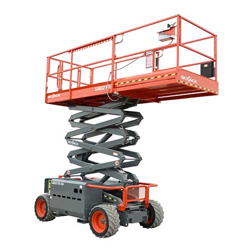 Skyjack SJ6832 RTE electric rough terrain scissor lift rental by US Aerials & Equipment Rental