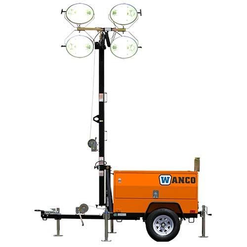 Wanco diesel light tower rental by US Aerials & Equipment Rental