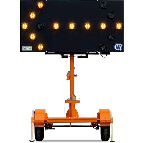 Wanco solar powered arrow board rental by US Aerials & Equipment Rental