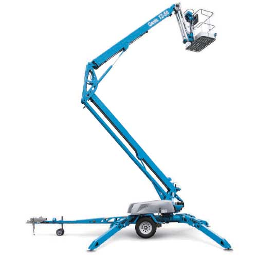 Genie TZ-50 trailer-mounted Z-boom lift rental by US Aerials & Equipment Rental